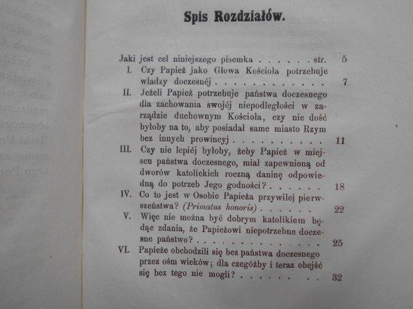 Kilka słów o doczesnej władzy papieża [1860]