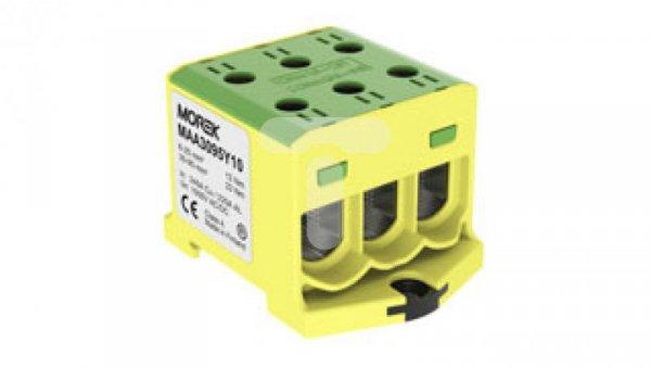Złączka szynowa gwintowa AL CU 6-95mm2 TS 35 1 tor 6 otworów zaciskowych OTL95-3  żółto-zielony MAA3095Y10 89827009