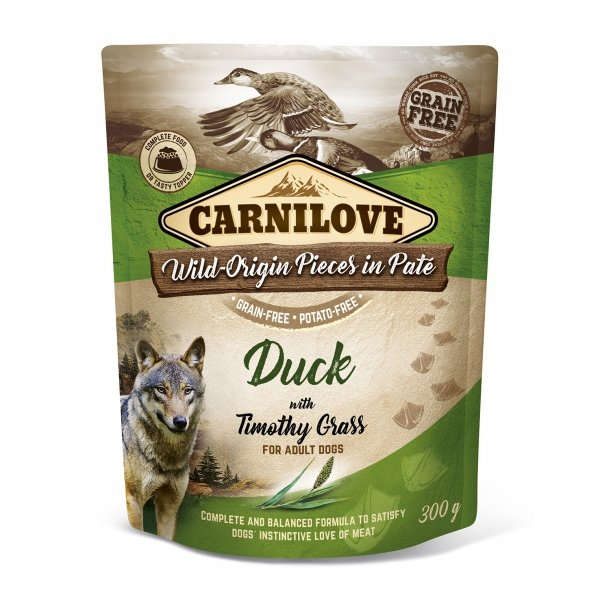 CARNILOVE DOG POUCH DUCK&TIMOTHY GRASS 300g