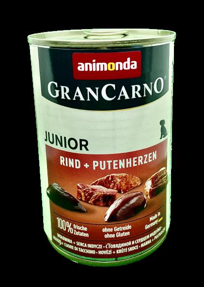 Puszka karmy Animonda Gran Carno Junior Rind +Putenherzen (wołowina + serca indycze) 400g dla młodych psów