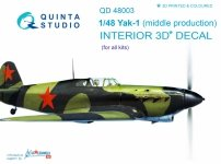 Quinta Studio QD48003 Yak-1 (mid. production) 3D-Printed & coloured Interior on decal paper (for all kits) 1/48