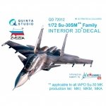 Quinta Studio QD72012 Su-30SM 3D-Printed & coloured Interior on decal paper (for Zvezda kit) 1/72