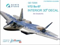 Quinta Studio QD72004 SU-57 3D-Printed & coloured Interior on decal paper (for Zvezda kit)1/72