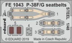 Eduard FE1043 P-38F/ G seatbelts STEEL 1/48 TAMIYA
