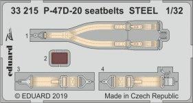 Eduard 33215 P-47D-20 seatbelts STEEL 1/32 TRUMPETER