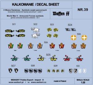 Weikert Decals DEC239 Oznaczenia niemieckich dywizji pancernych - vol.1 1/35
