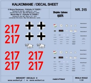 Weikert Decals DEC315 TIGER I - Otto Carius - czołg 217 - Schwere Pz. Abt. 502 , Malinovka - Łotwa, maj 1944 - ver.2 1/35