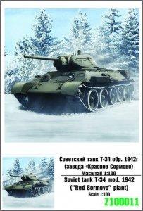 Zebrano Z100-011 Soviet tank T-34 m.1942 1/100