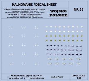 Weikert Decals DEC263 Mundury polskie - patki, naramienniki, insygnia na czapki i hełmy - cześć 4 - vol.63 1/35