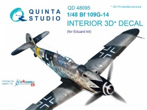Quinta Studio QD48095 Bf 109G-14 3D-Printed & coloured Interior on decal paper (for Eduard kit) 1/48