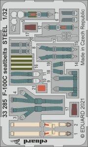 Eduard 33285 F-100C seatbelts STEEL TRUMPETER 1/32