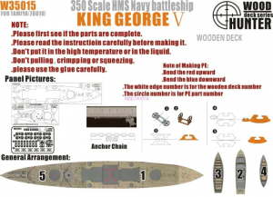 Wood Hunter W35015 MS Navy Battleship King George V Wooden Deck (for Tamiya 78010 kit) 1/350