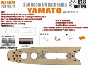 Wood Hunter W35026 Wood deck IJN Yamato for Tamiya 78025 1/350