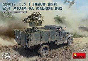 MiniArt 35186 SOVIET 1,5 t. TRUCK w/ M-4 Maxim AA Machine Gun (1:35)