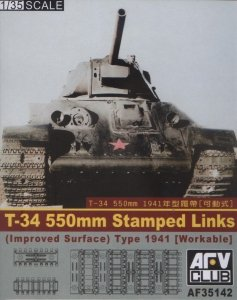 AFV Club 35142 WORKABLE WWII T-34 550mm Stamped Links (Improved Surface) 1/35