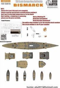 Wood Hunter W35008 Wood Deck German Bismarck for Tamiya 1/350