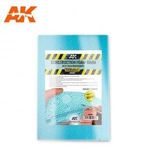 AK Interactive AK 8097 CONSTRUCTION FOAM 10MM BLUE FOAM HIGH DENSITY 195X295MM INCLUDES 2 SHEETS (pianka do budowy)
