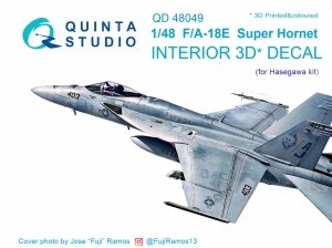 Quinta Studio QD48049 F/A-18E 3D-Printed & coloured Interior on decal paper (for Hasegawa kit) 1/48