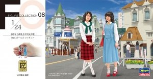 Hasegawa FC08 80's GIRLS FIGURE (2 kits in the box) 1/24
