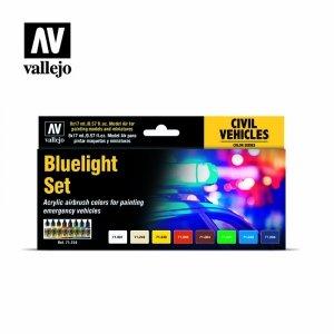 Vallejo 71154 Model Air - Bluelight Set Emergency Vehicle Colors 8 x 17 ml