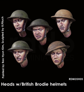 RADO Miniatures RDM35H05 Heads wearing British Brodie helmet 1/35