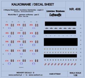 Weikert Decals DEC406 Mundury niemieckie - część 3 - luftwaffe - obrona przeciwlotnicza 1/35