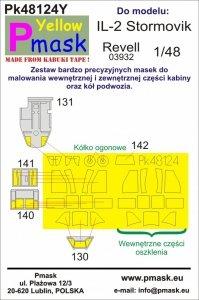 P-Mask PK48124Y IL-2 Stormovik (Revell 03932) Maski z żółtego materiału kabuki 1/48