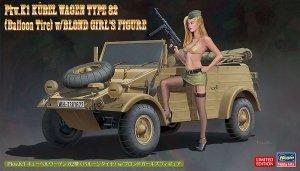 Hasegawa SP473 52273 Pkw.K1 Kübelwagen Type 82 (Balloon Tire) w/Blonde Girl's Figure 1/24