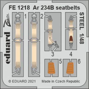 Eduard FE1218 Ar 234B seatbelts STEEL HASEGAWA/HOBBY 2000 1/48
