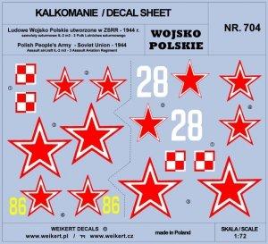 Weikert Decals DEC704 Wojsko Polskie - samoloty szturmowe Ił2M3 - 3 Pułk Lotnictwa Szturmowego - część 2 1/72