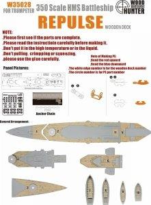 Wood Hunter W35028 Wood deck HMS Repulse for Trumpeter 1/350