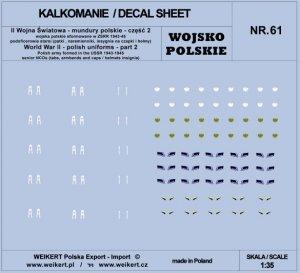 Weikert Decals DEC261 Mundury polskie - patki, naramienniki, insygnia na czapki i hełmy - cześć 2 - vol.61 1/35