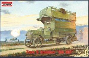 Roden 732 World War I Type B Omnibus Ole Bill British bus 1/72