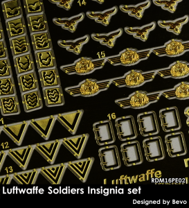 RADO Miniatures RDM16PE02 Luftwaffe Soldiers Insignia Set - Zestaw Fototrawiony 1/16