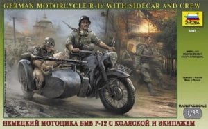 Zvezda 3607 German motorcicle R-12 with sidecar and crew (1:35)