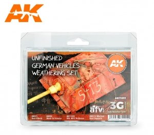 AK Interactive AK 11651 UNFINISHED GERMAN VEHICLES WEATHERING SET 4x17 ml