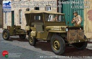 Bronco CB35107 US GPW 4x4 Light Utility Vehicle mod 1942 w/37mm AT Gun M3A1 (1:35)