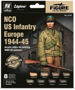 Vallejo 70244 Model Color 8x17ml- NCO US Infantry Europe 1944-45