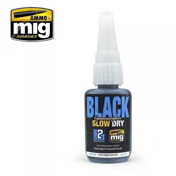 AMMO of Mig Jimenez 8034 BLACK SLOW DRY CYANOACRYLATE