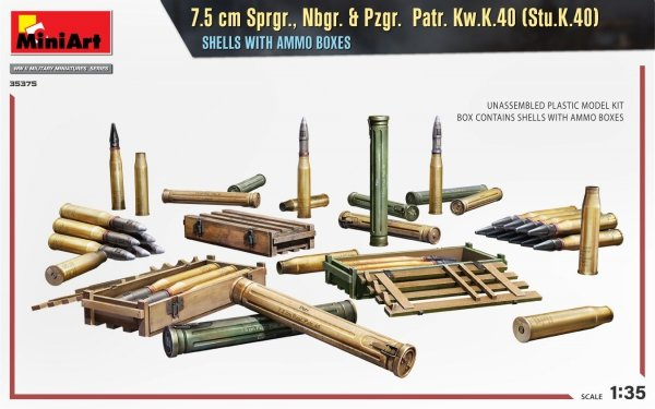 MiniArt 35375 7.5 cm Sprgr., Nbgr. & Pzgr. Patr. Kw.K.40 (Stu.K.40) SHELLS WITH AMMO BOXES 1/35