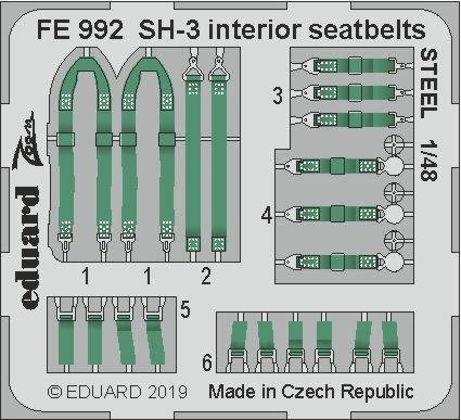 Eduard FE992 SH-3 interior seatbelts STEEL 1/48 HASEGAWA