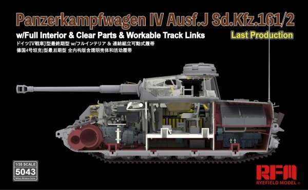 Rye Field Model 5043 Panzerkampfwagen IV Ausf.J Sd.Kfz.161/2 (w/full interior&clear parts&workle track links) 1/35