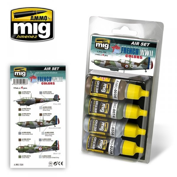 AMMO of Mig Jimenez 7228 FRENCH WWII AIRCRAFT COLORS Set 4x17ml
