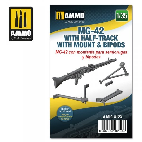Ammo of Mig 8123 MG-42 with Half-Track Mount and Bipods 1/35
