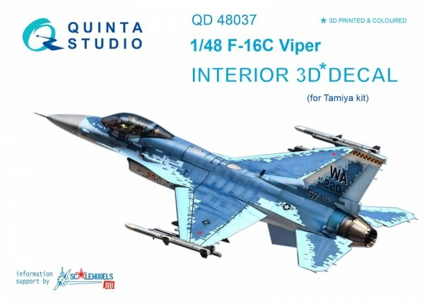 Quinta Studio QD48037 F-16С 3D-Printed & coloured Interior on decal paper (for Tamiya kit) 1/48