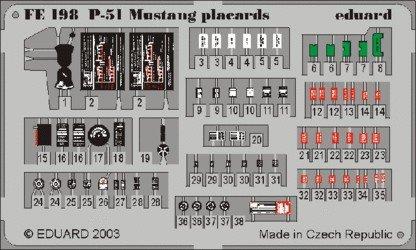 Eduard FE198 P-51 placards 1:48