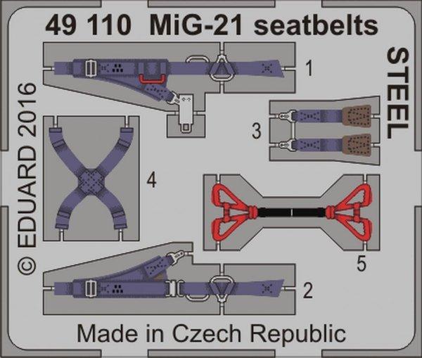 Eduard 49110 MiG-21 seatbelts STEEL 1/48
