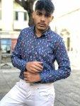 Camicia uomo slim fit - Camicia colorata a fantasia - Camicia blu