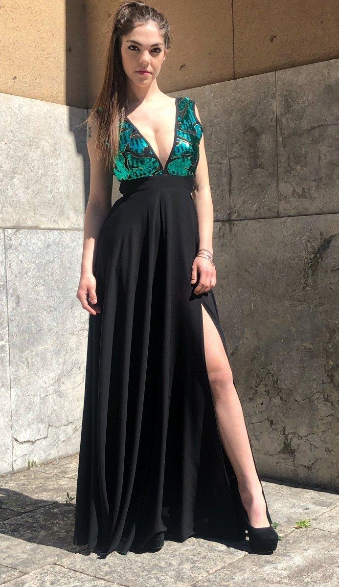 8b36b8047443 Vestiti donna online - Abiti eleganti - Abito Nero lungo -Gogolfun.it