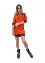 Abito estivo arancio - Vestito corto - Abitino manica lunga - Vestitini donna